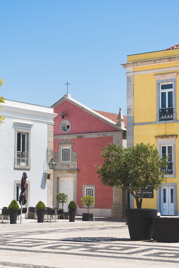 Charming colorful buildings in Cascais Portugal