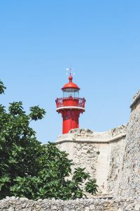 Red Lighthouse in Figueira da Foz Portugal