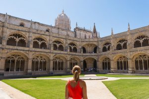 Girl at the Jeronimos Monastery in Lisbon Portugal