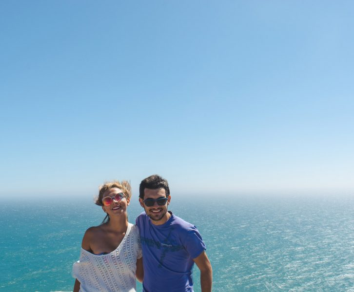 Us standing in Cabo da Roca in Portugal