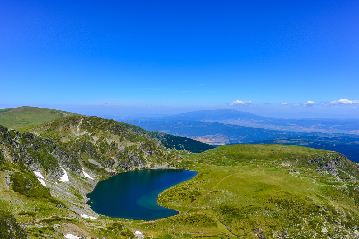 The kidney lake in the Seven Rila Lakes in the mountains of Bulgaria