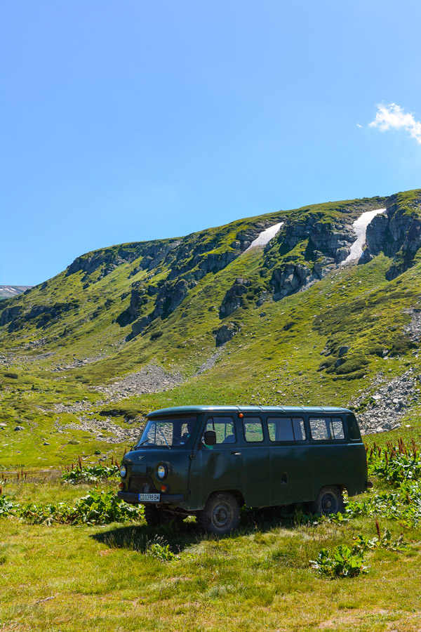 Vintage Van by the Seven Rila Lakes in Bulgaria