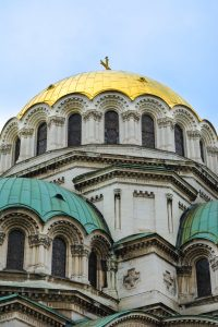 Golden rooftops of the Alexander Nevski Cathedral in Sofia Bulgaria