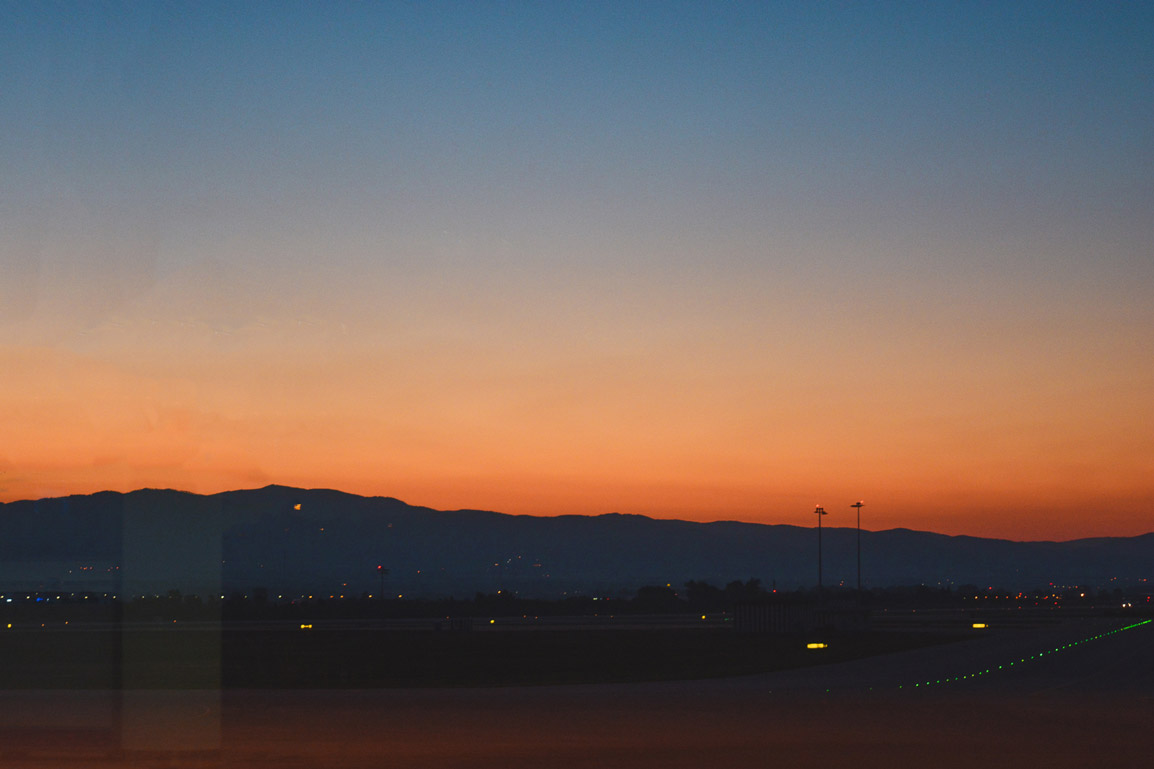 Sunrise over the mountains at Sofia's Airport in Bulgaria