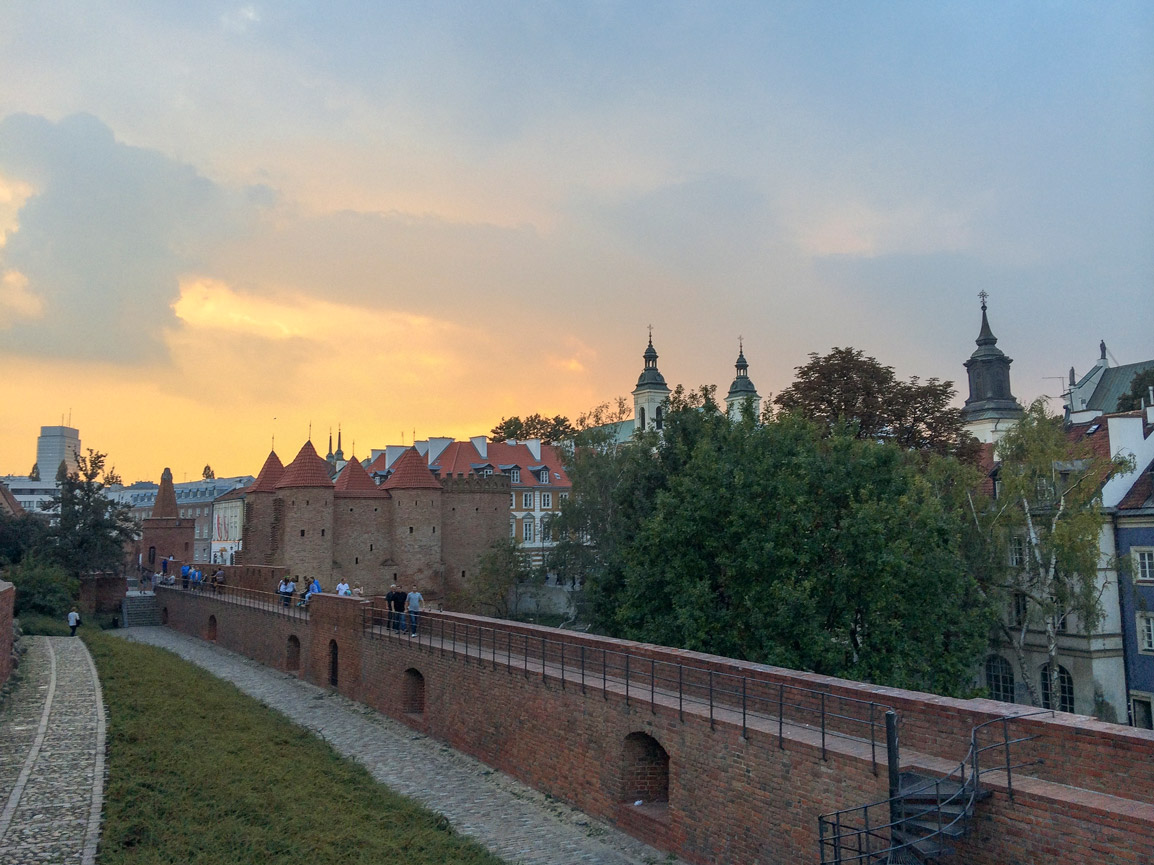 Sunset over the Barbican in Warsaw's Old Town