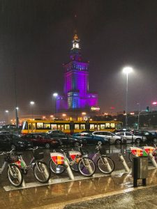 Rain falling over the Palace of Culture and Sciences in Warsaw Poland