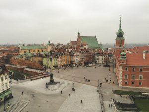 View to Warsaw's colorful Old Town in a grey day