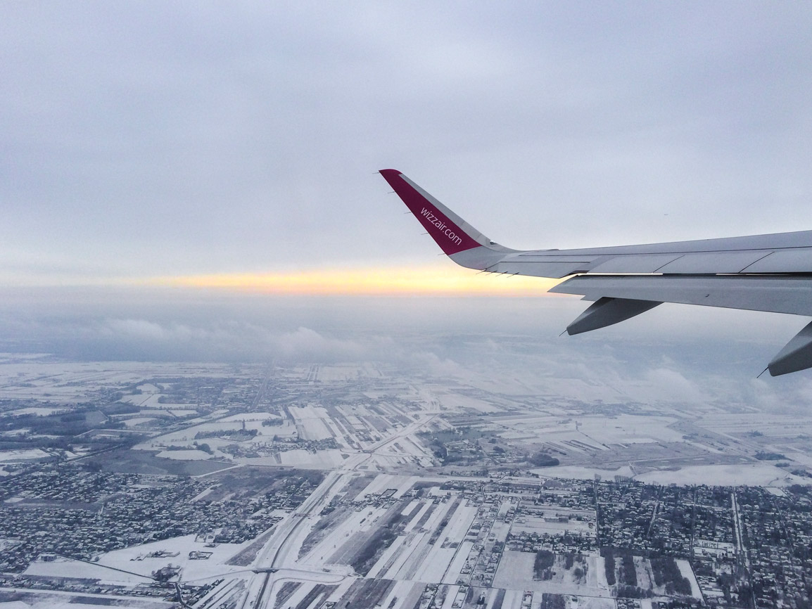 Snowy view from a Wizzair plane