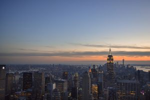View of the sunset falling over New York City from the Top of the Rock
