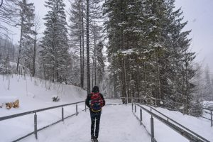 Rui in the middle of snow storm on the Tatry mountains in Poland