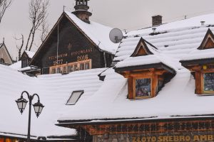 The Technikum Budowlane in Zakopane covered in snow