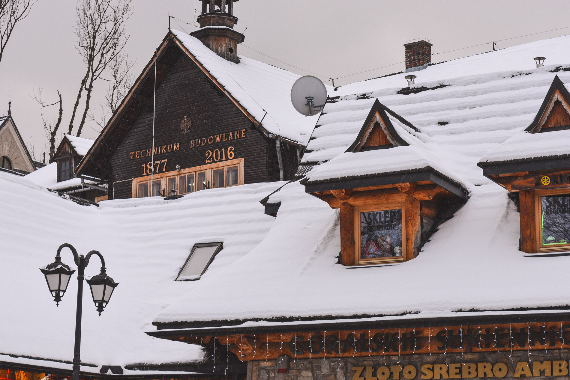 The Technikum Budowlane in Zakopane covered in snow