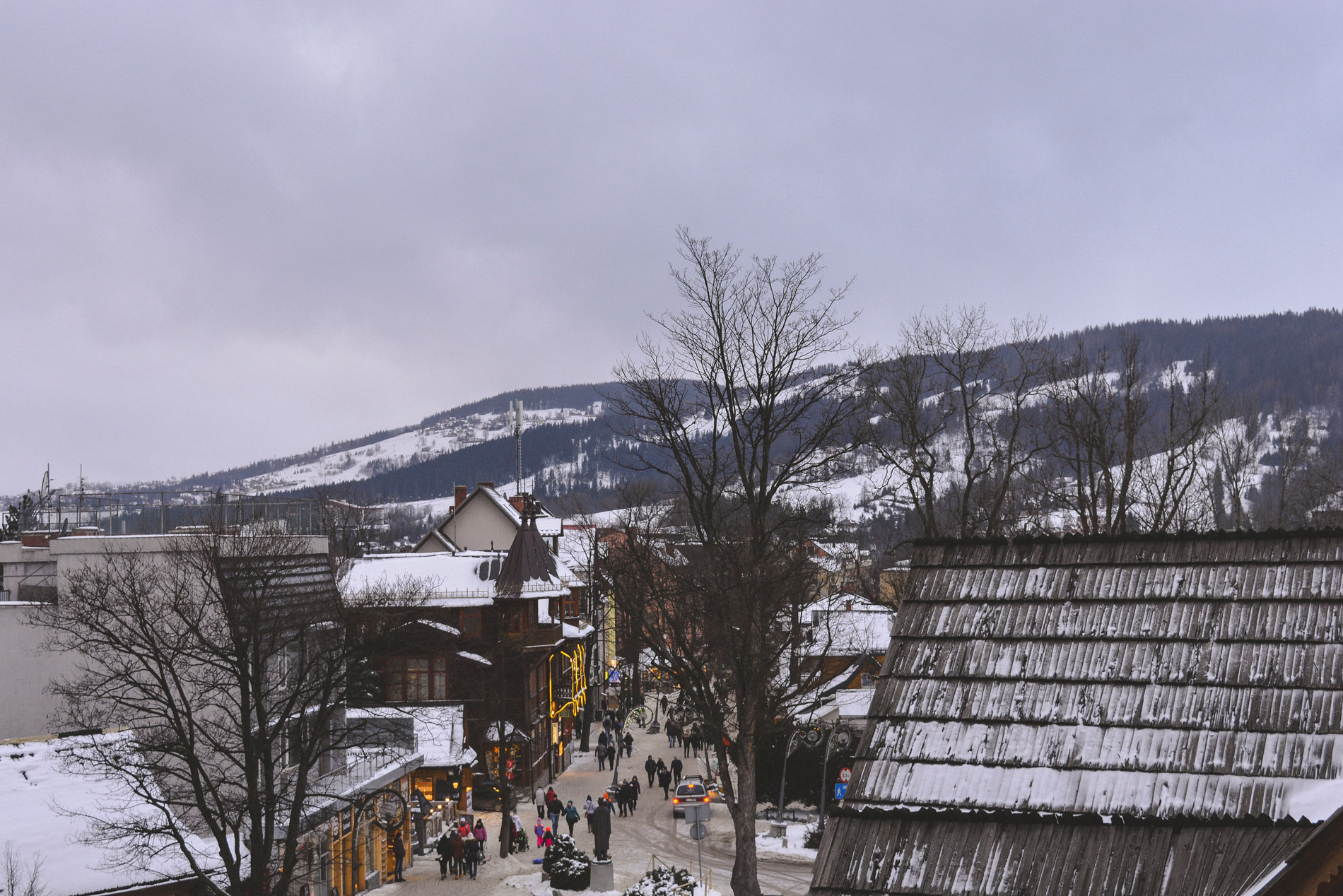 Beautiful winter scenery from our hotel room in Zakopane Poland