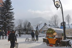 Snowy scene in the Krupowki Street in Zakopane
