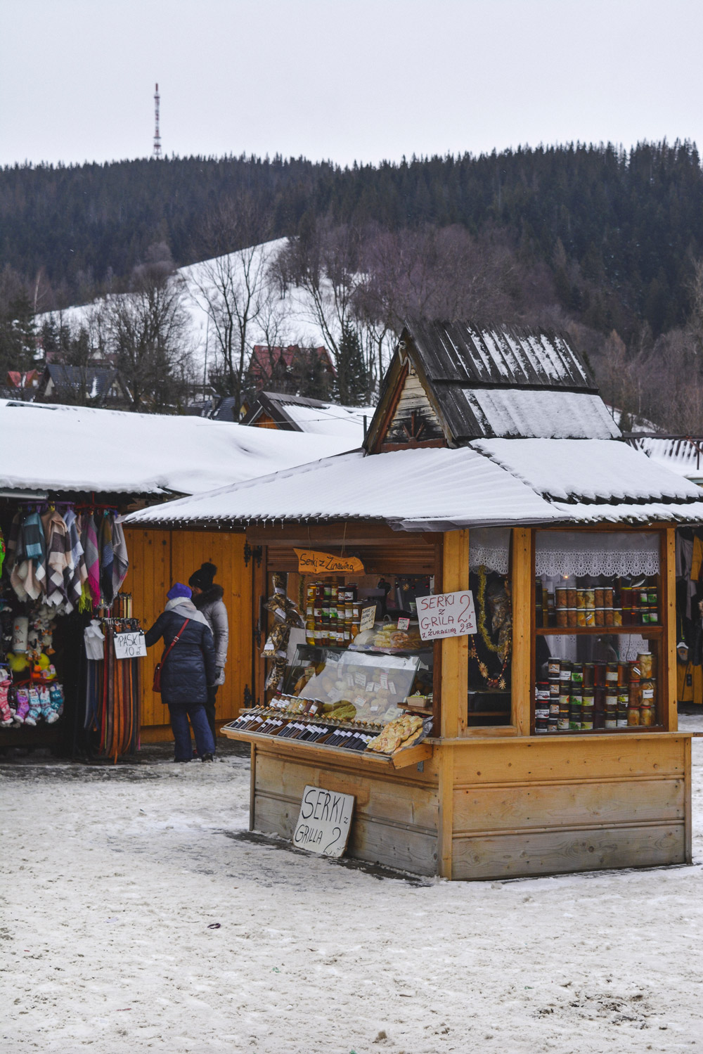 The market in Zakopane is filled with traditional products including delicious cheese
