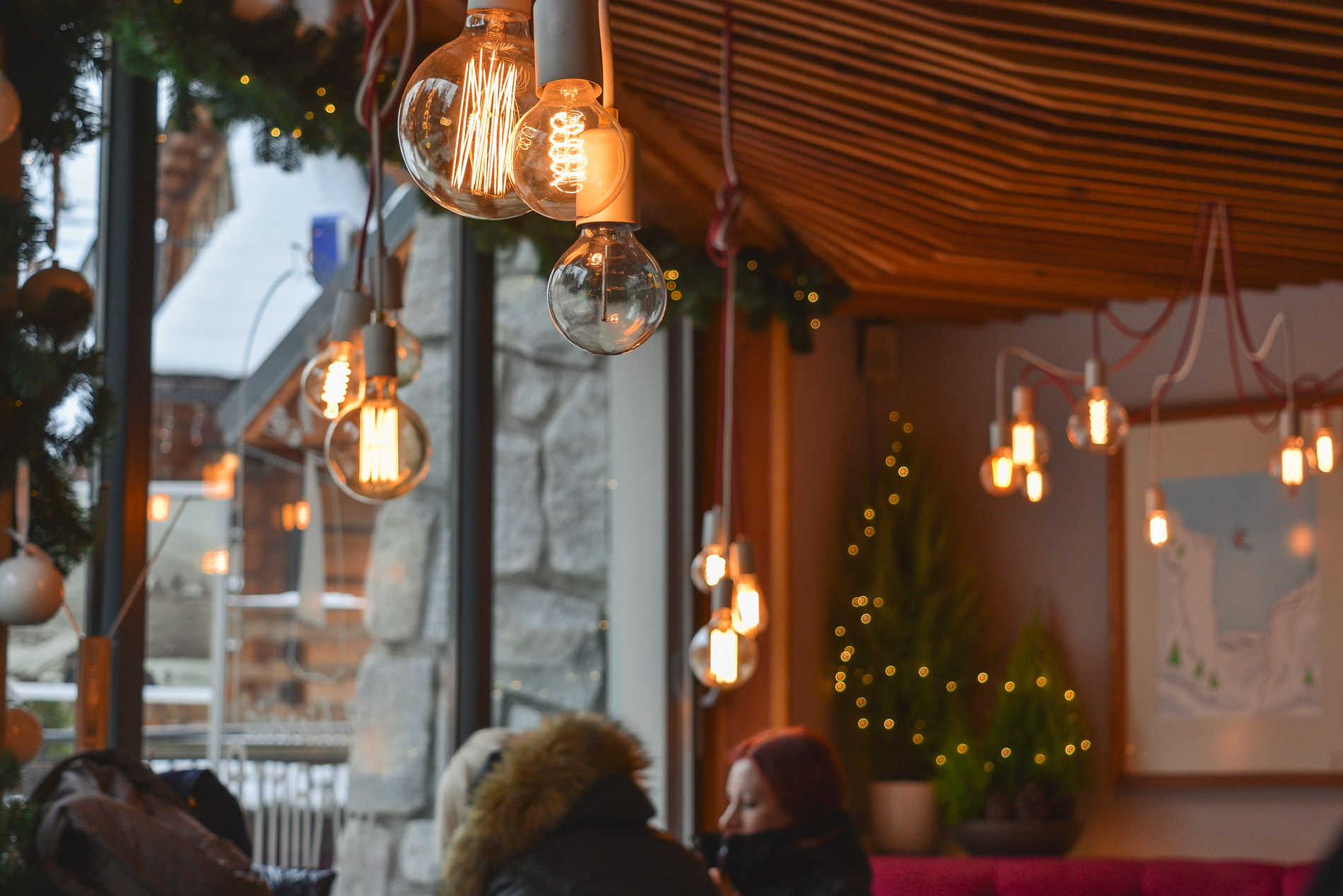 Warm cozy cafe in Zakopane on a cold Winter day