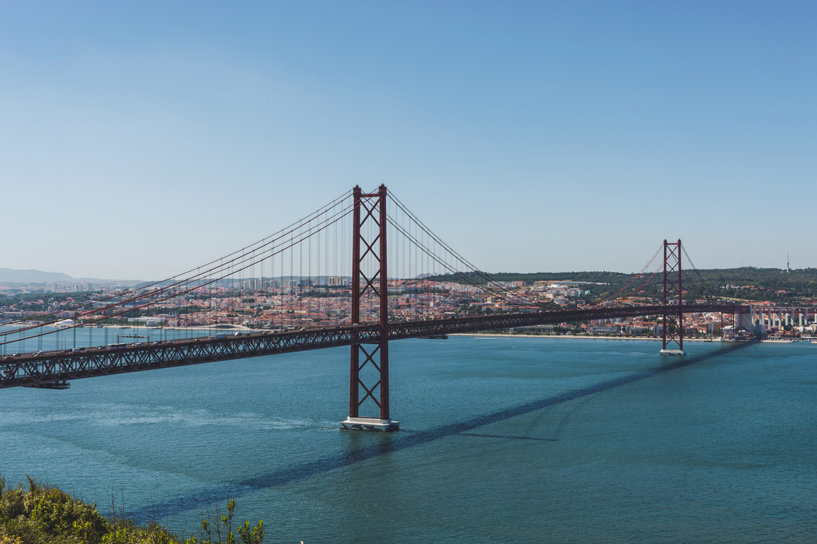 View to the 25th of April bridge from Cristo Rei