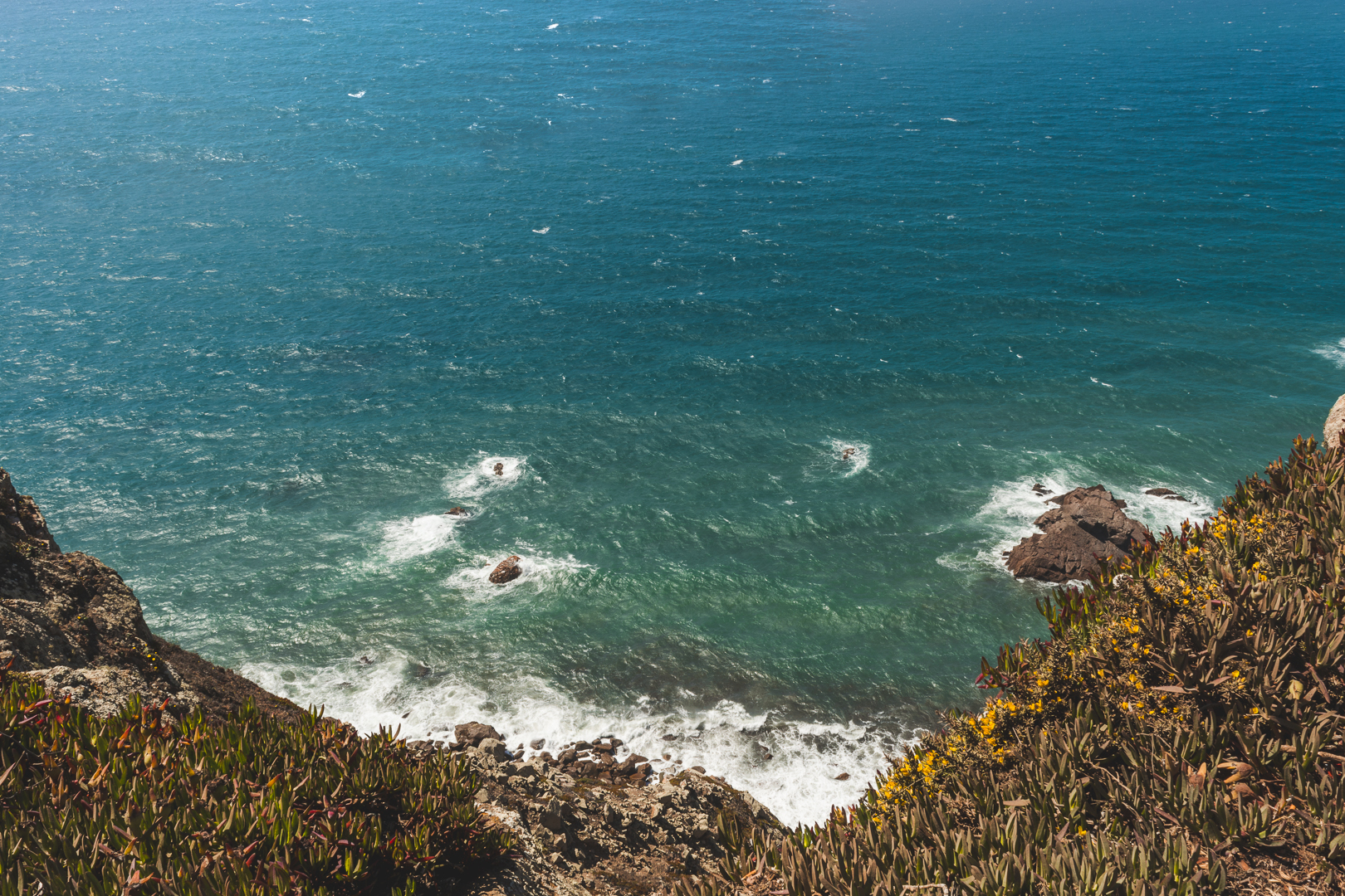 Waves crashing in continental Europe's Westernmost point, the Cabo da Roca in Portugal