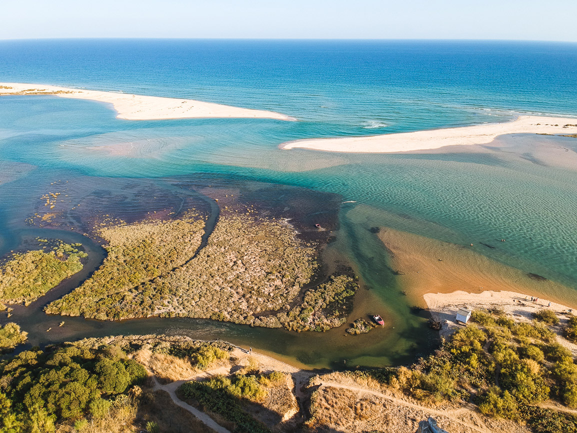 View to a disappearing bay in Cacela Velha in the South of Portugal