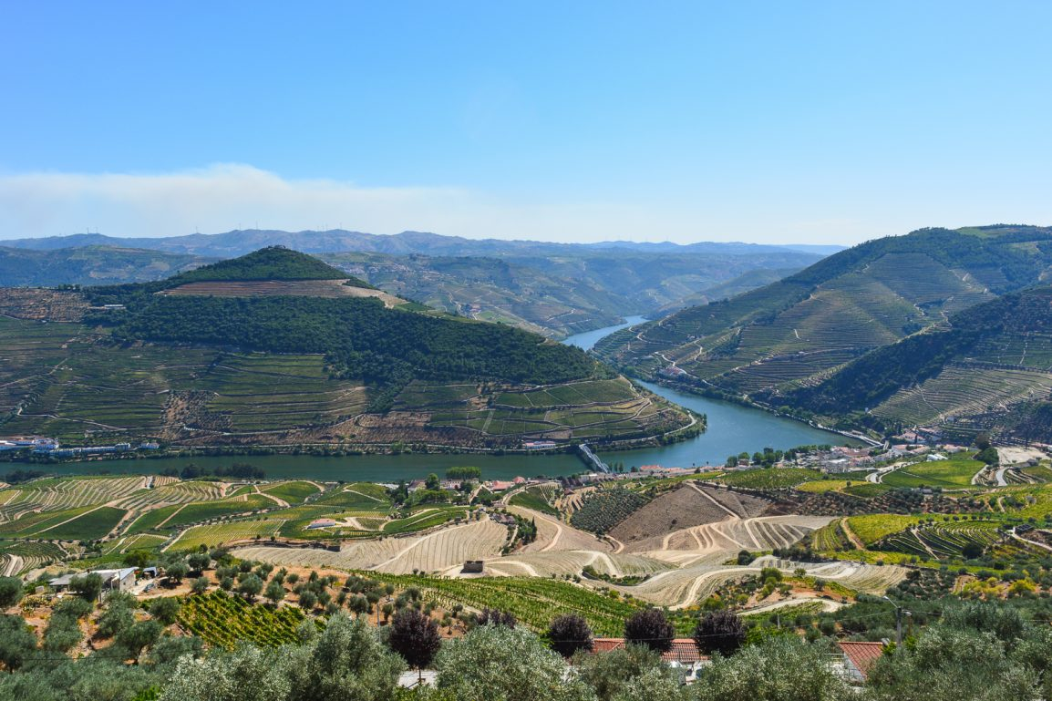 The beautiful Casal de Loivos viewpoint in the Douro region in Portugal