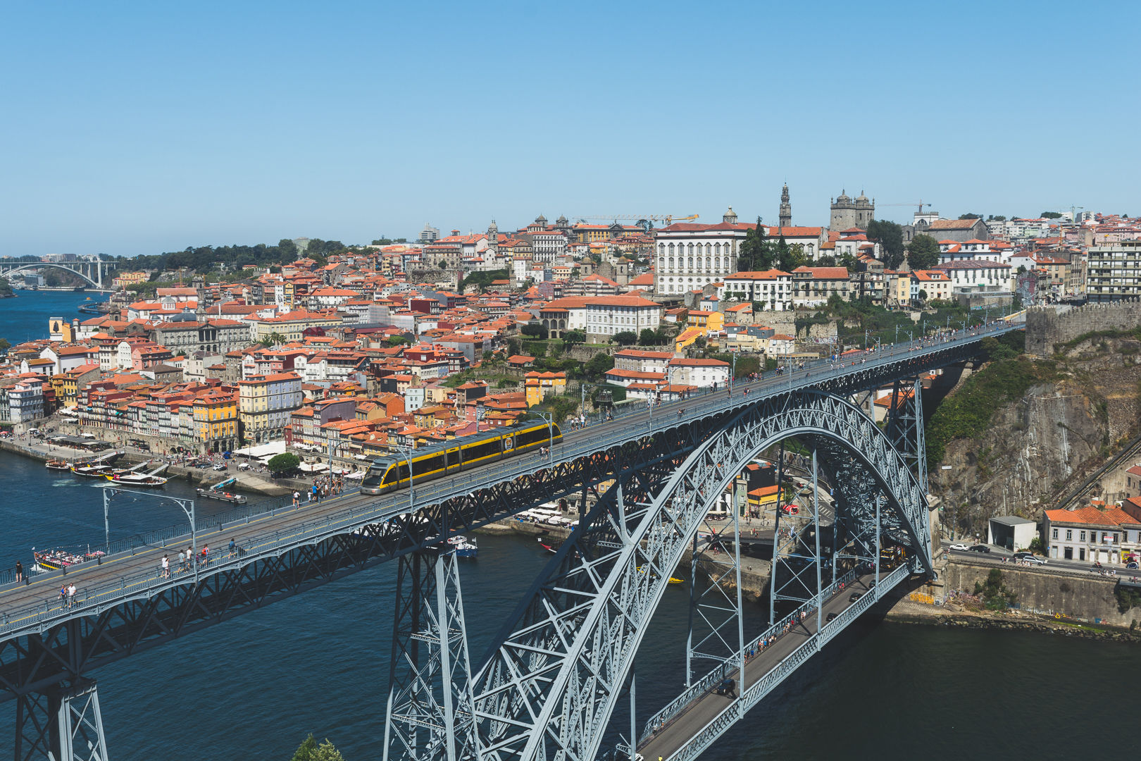 The famous Luis I bridge and the Ribeira area in Porto viewed from Gaia