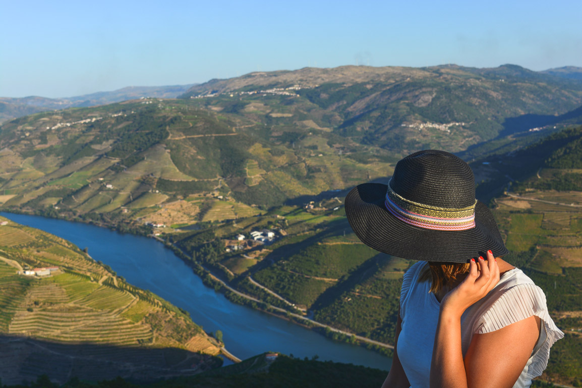 Maria at the Casal de Loivos viewpoint in the Douro region in Portugal