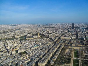 Paris as seen from the Eiffel Tower, the city blooms during the Spring