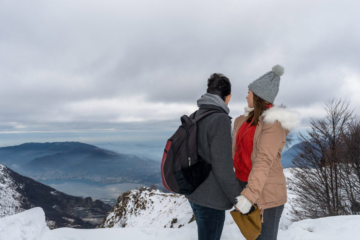 The Two Find a Way couple at the top of the mountains in the North of Italy