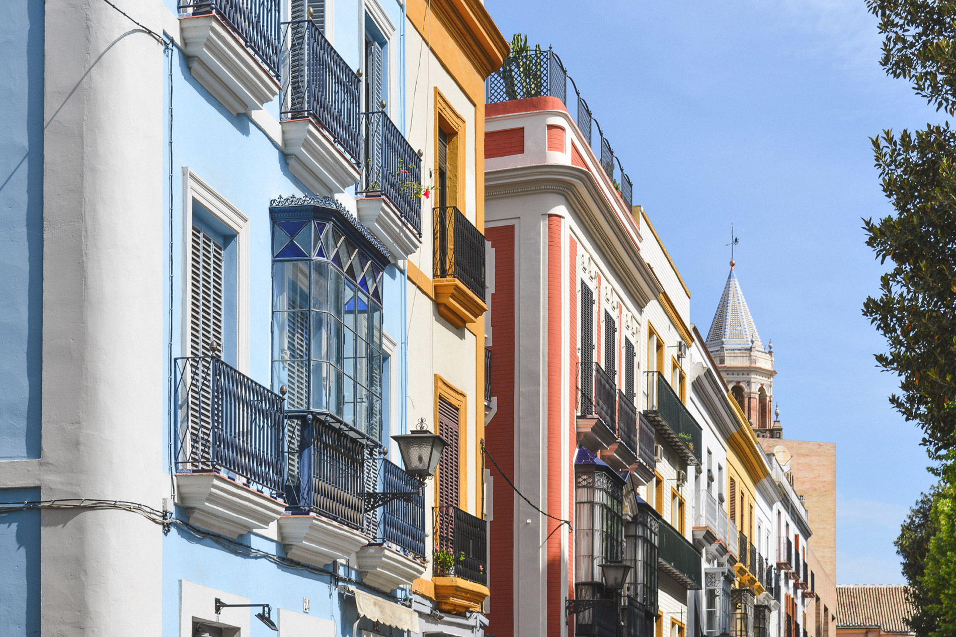 Colorful houses are one of Seville's main attractions