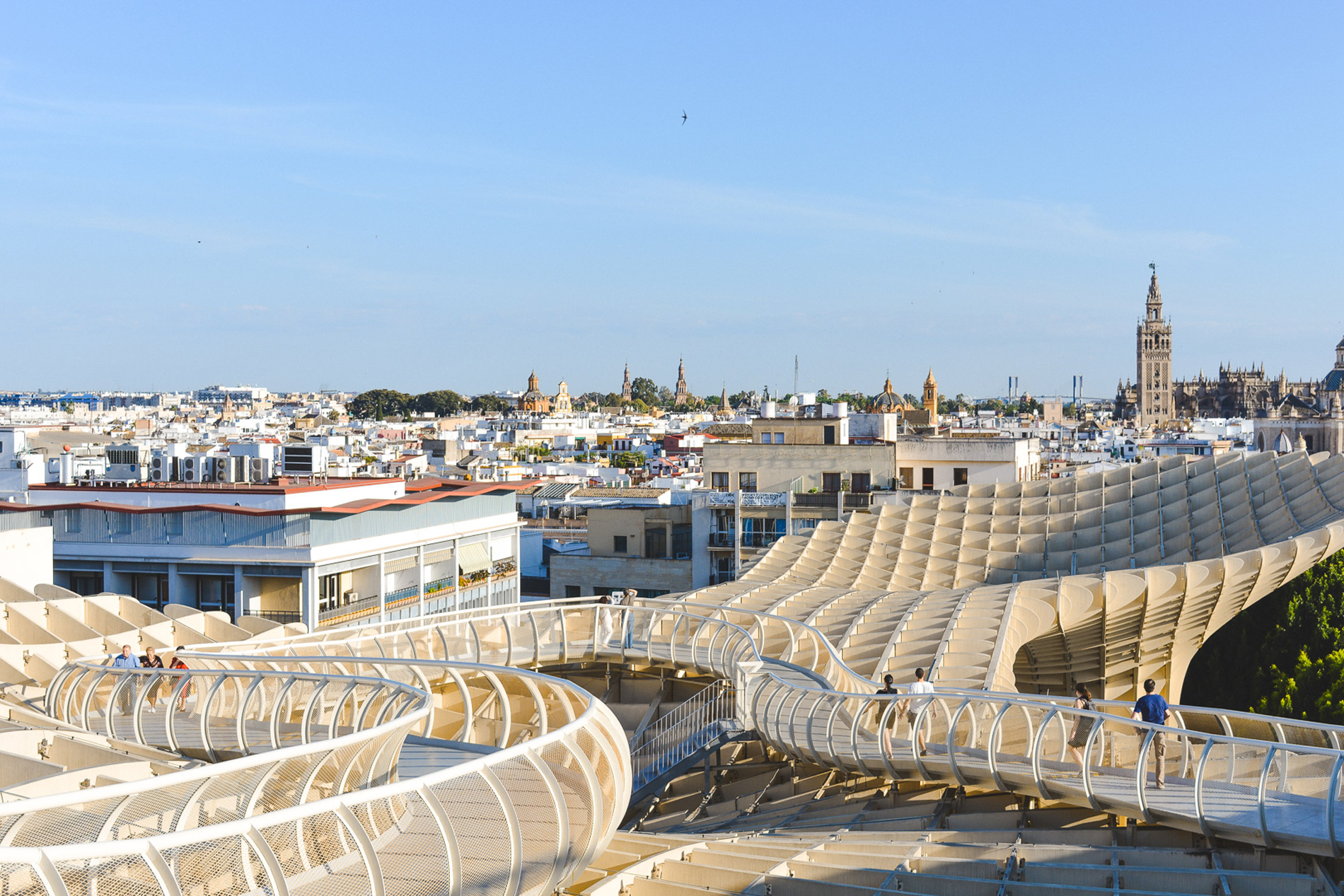 The Metropol Parasol is the best place to get a view to Seville in Spain