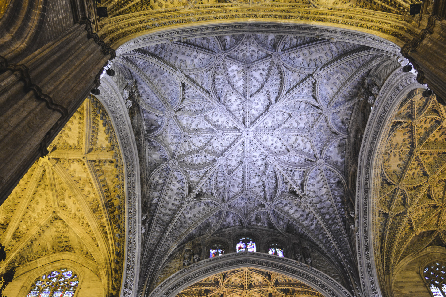 Details of the Cathedral's ceiling one of the best known Seville attractions