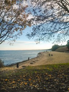 Autumn over a beach in Gdynia Poland