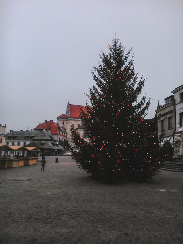 Main Square of Kazimierz Dolny with Christmas decorations