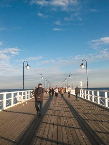 Sunny day in a pier in Gdynia Poland