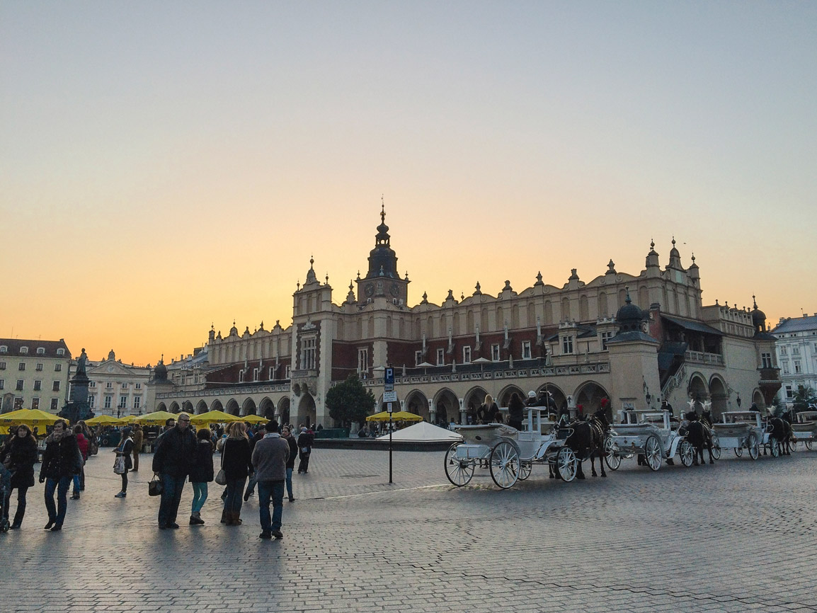 Main Square in Old Town Krakow during the sunset