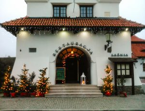 Cozy restaurant with lights and decorations in Kazimierz Dolny
