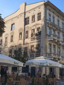 Detailed Street Art Mural over a restaurant in Lodz Poland