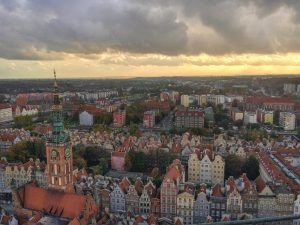 View to the city of Gdansk in Poland during the sunset