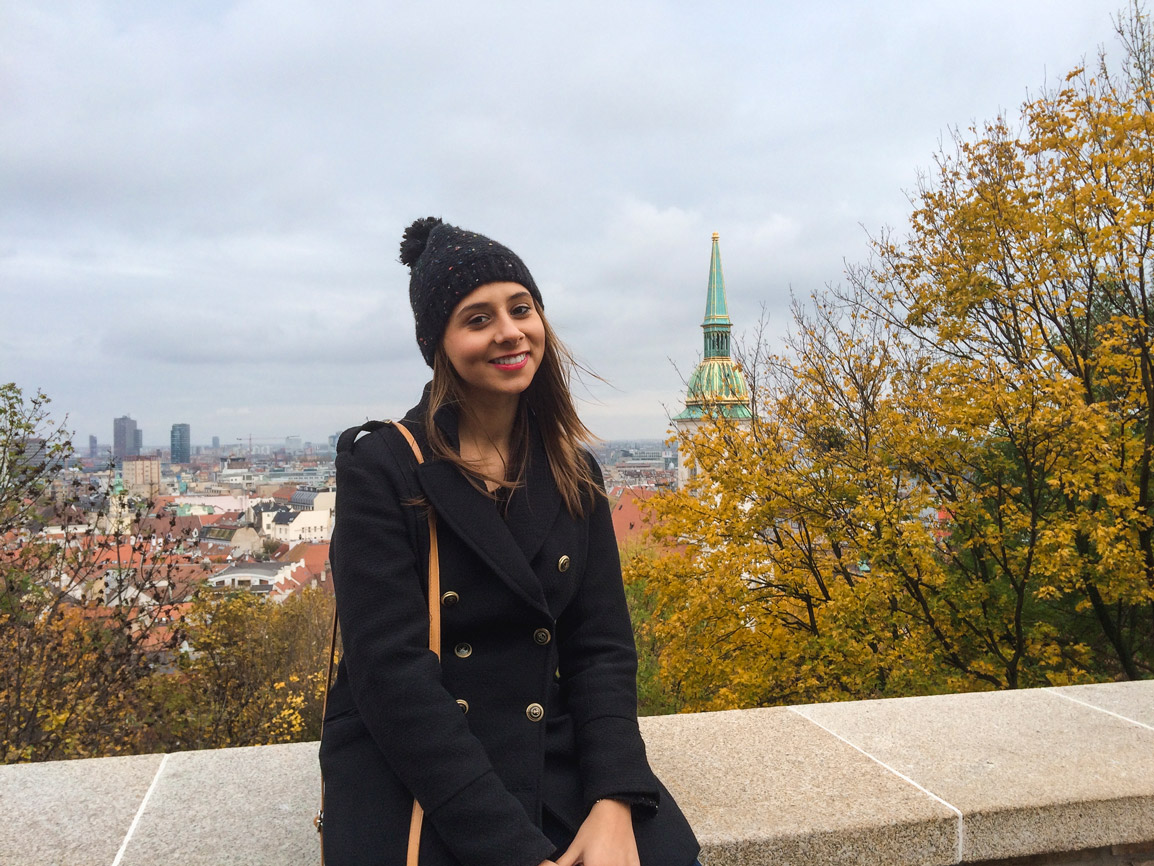 Maria and the view from the Bratislava Castle on an Autumn day