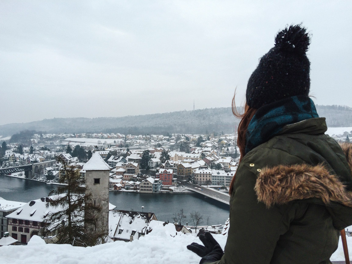 View from the Munot to a snow covered Schaffhausen