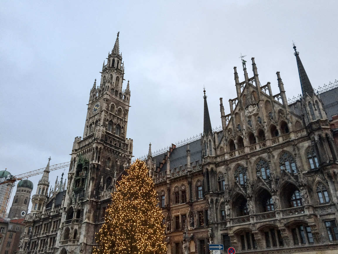Christmas decorations in Marienplatz Munich