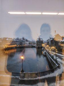 Reflection in a museum window in Zurich Switzerland