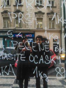 Selfie of us on a random mirror in Prague