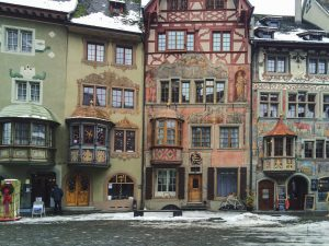 Amazing houses in a snowy day in Stein am Rhein Switzerland
