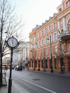 Quaint street in Vilnius Lithuania