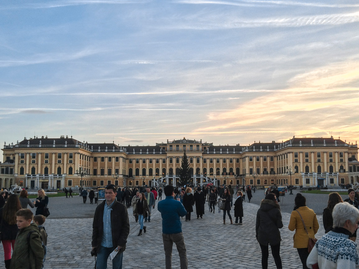 Sunset over the Schonbrunn Palace in Vienna Austria