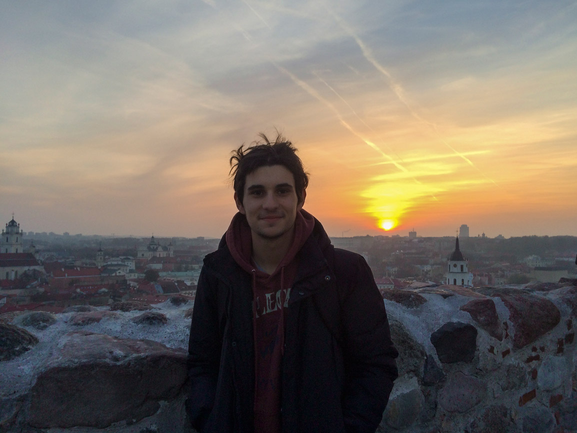 Rui and a beautiful sunset in Vilnius Lithuania