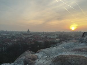 Sunset from the Gediminas Castle in Vilnius Lithuania