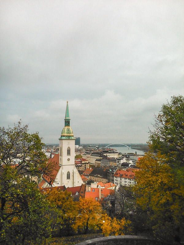 View from the hill off the Bratislava Castle to the river and the city in Slovakia