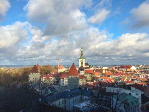 View to a cloudy Tallinn in Estonia